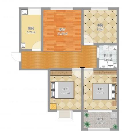 金玉豪庭3室1厅1卫1厨105.00㎡户型图