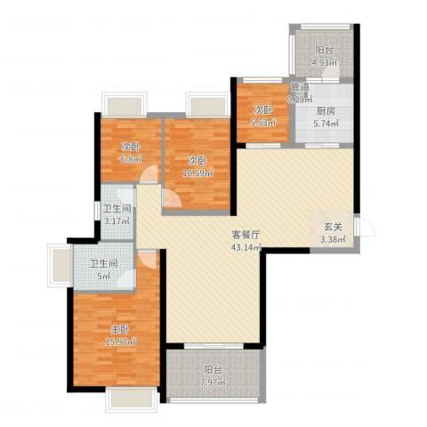 珠江观澜御景4室2厅2卫1厨136.00㎡户型图