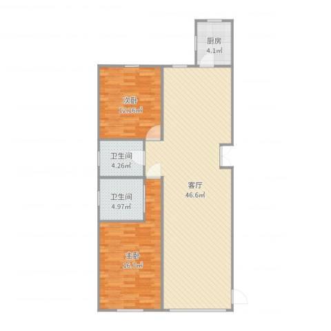 草桥欣园三区2室1厅2卫1厨111.00㎡户型图