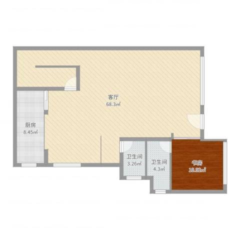 棕榈岛1室1厅2卫1厨119.00㎡户型图