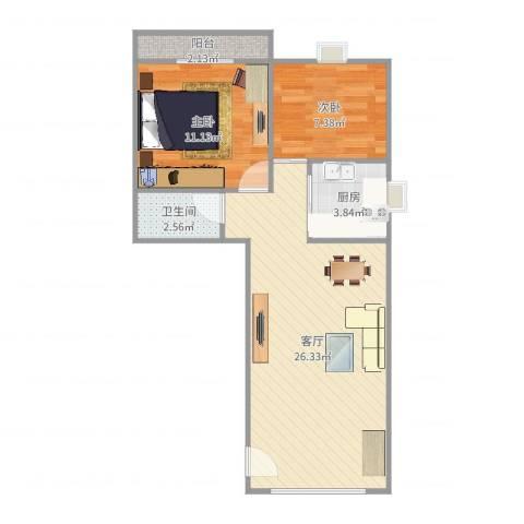 新景海韵园2室1厅1卫1厨67.00㎡户型图