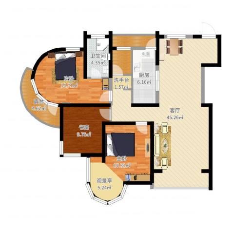 钓鱼台七号3室1厅1卫1厨134.00㎡户型图