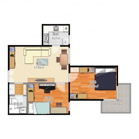 培新街乙5号院2室1厅1卫1厨66.00㎡户型图