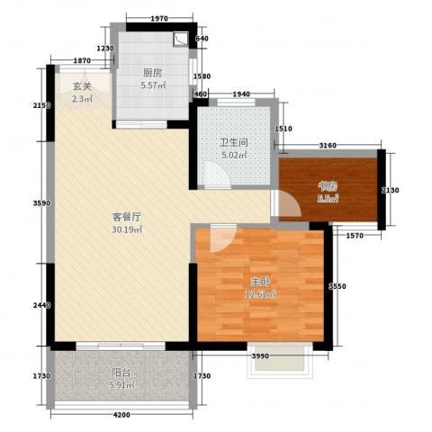 南山国际社区2室2厅1卫1厨81.00㎡户型图