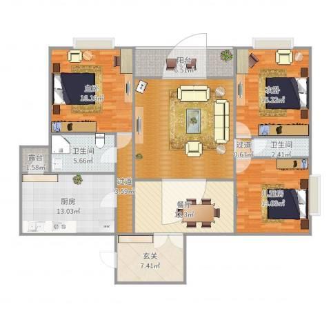 水景花城3室1厅3卫3厨152.00㎡户型图