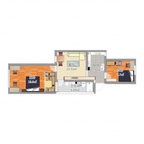 白杨小区2室1厅1卫1厨71.00㎡户型图