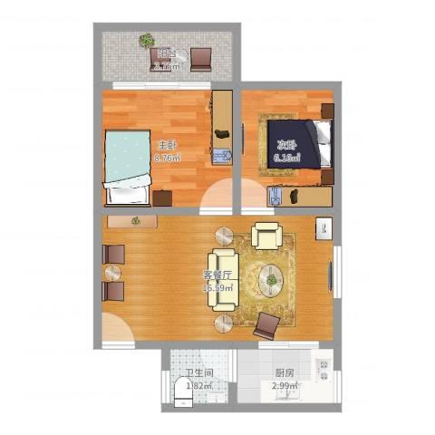 富力新村2室2厅1卫1厨50.00㎡户型图