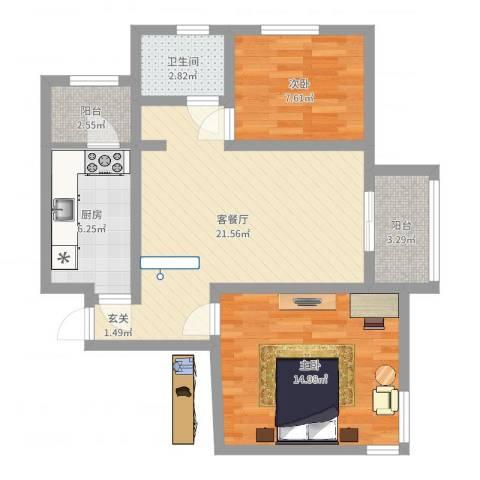 天津市西青金友花园2室2厅1卫1厨59.06㎡户型图
