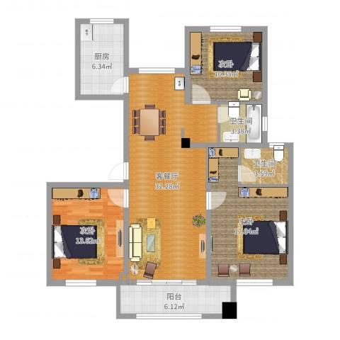 金色蓝庭8#2013室2厅2卫1厨108.00㎡户型图