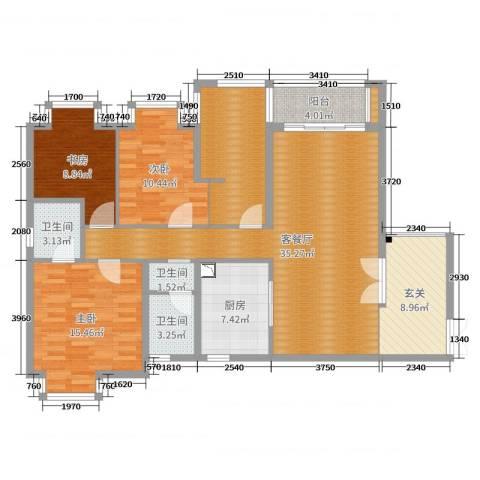 橄榄君庭3室2厅3卫1厨136.00㎡户型图