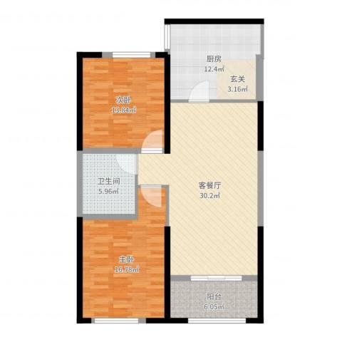梅江南苑2室2厅1卫1厨107.00㎡户型图