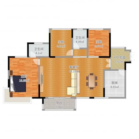 依云上城3室2厅2卫1厨136.00㎡户型图