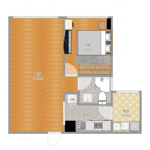 两江慧谷1室1厅1卫1厨51.00㎡户型图