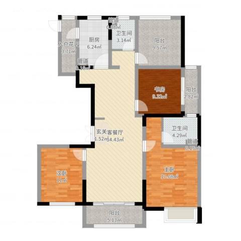 新时代广场3室2厅2卫1厨134.00㎡户型图