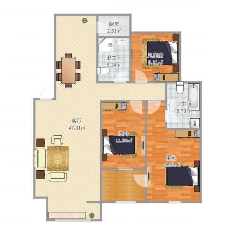 教师公寓3室1厅2卫1厨130.00㎡户型图