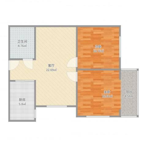芳草园2室1厅1卫1厨76.00㎡户型图