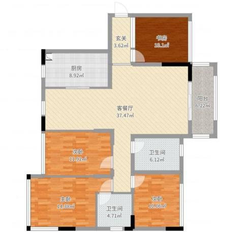 富川瑞园4室2厅2卫1厨142.00㎡户型图