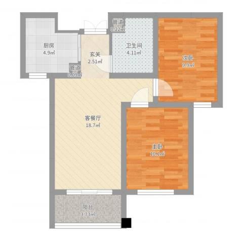 润鑫・公园壹号2室2厅1卫1厨65.00㎡户型图