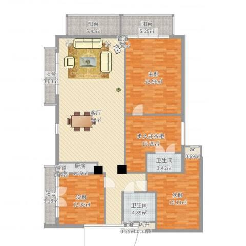 观澜高尔夫二期观澜豪园3室1厅2卫1厨181.00㎡户型图