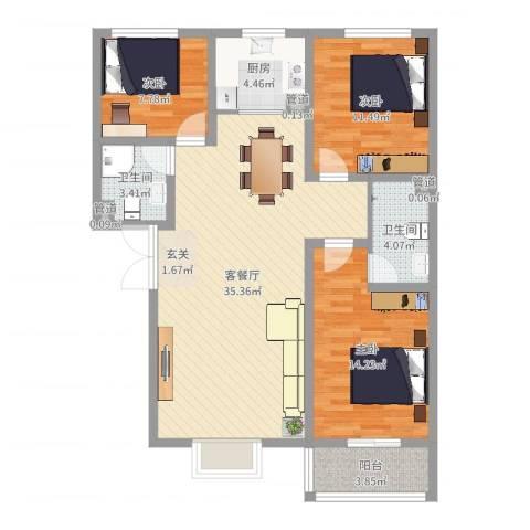 富丽广场3室2厅2卫1厨106.00㎡户型图