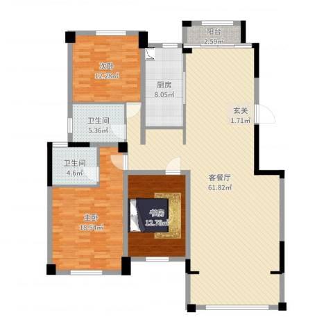 益兴名人湾3室2厅2卫1厨158.00㎡户型图