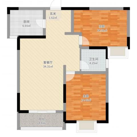 万邦・翰林郡2室2厅1卫1厨98.00㎡户型图