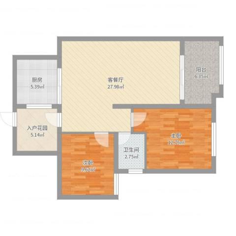 华苑小区2室2厅1卫1厨87.00㎡户型图