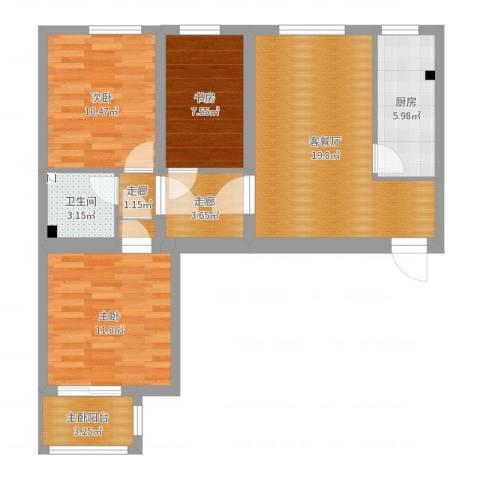 同馨家园3室2厅1卫1厨84.00㎡户型图