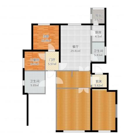 新梅江·万科柏翠园2室1厅2卫1厨188.00㎡户型图