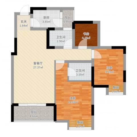 永缘寓乐圈3室2厅2卫1厨89.00㎡户型图