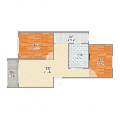 浦发绿城1960弄小区2室1厅1卫1厨72.00㎡户型图