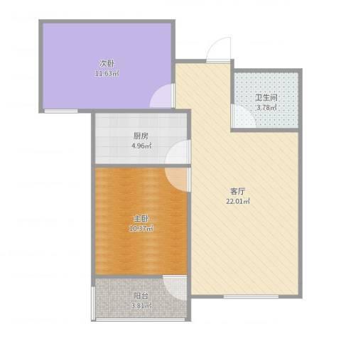 同馨家园2室1厅1卫1厨71.00㎡户型图