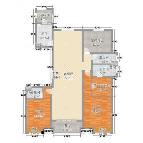 恒茂国际都会2室2厅3卫1厨194.00㎡户型图