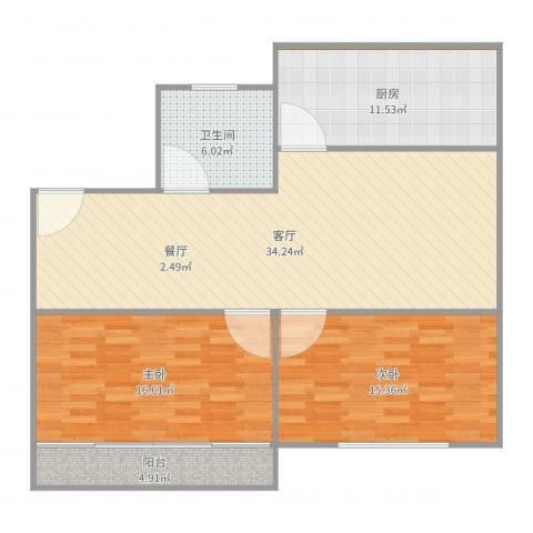 东升家园99弄五号二零一2室1厅1卫1厨111.00㎡户型图