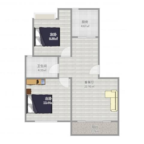 金鹤新城双佳翠庭2室2厅1卫1厨74.00㎡户型图