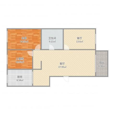 泰山小区2室2厅1卫1厨125.00㎡户型图