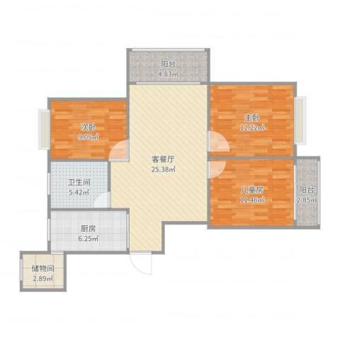 幸福华城3室2厅1卫1厨100.00㎡户型图