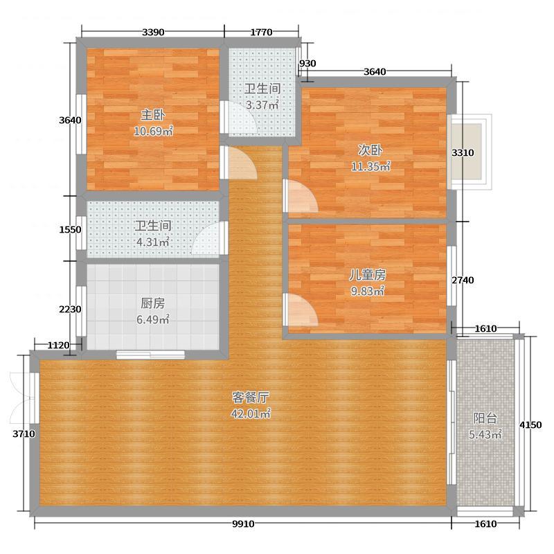 洞口楴燃大厦B栋1406室样图