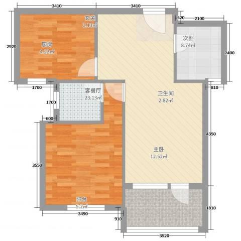 红星海城市别馆22室2厅1卫1厨87.00㎡户型图