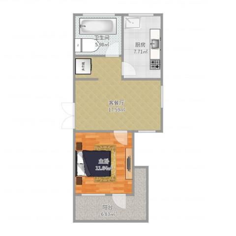 宝邻苑1室2厅1卫1厨62.00㎡户型图