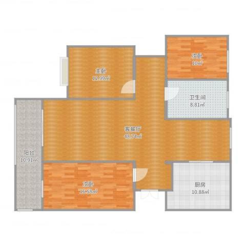 颐和家园3室2厅1卫1厨149.00㎡户型图