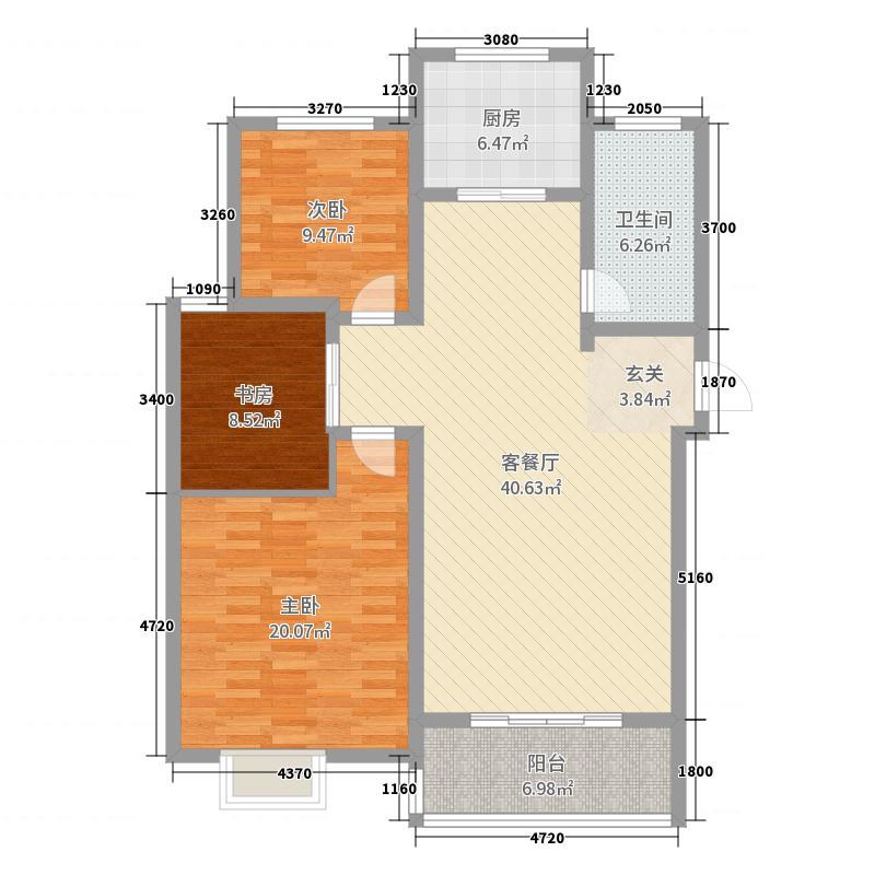 榕城奥运星城123.00㎡1-4层1单元-102B户型3室3厅1卫