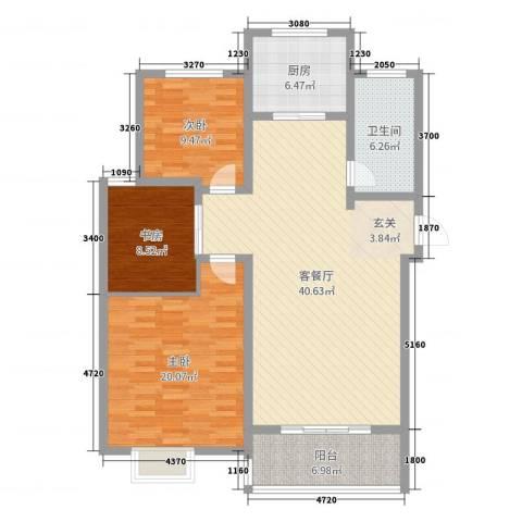 榕城奥运星城3室2厅1卫1厨98.40㎡户型图