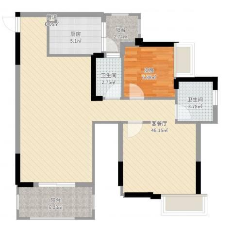 奥体中央公园1室2厅2卫1厨92.00㎡户型图