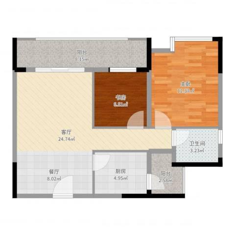 碧桂苑2室1厅1卫1厨78.00㎡户型图