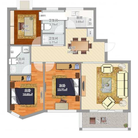 同方杰座3室2厅3卫1厨101.00㎡户型图