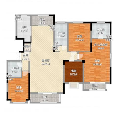 漫山香墅4室2厅3卫1厨189.00㎡户型图