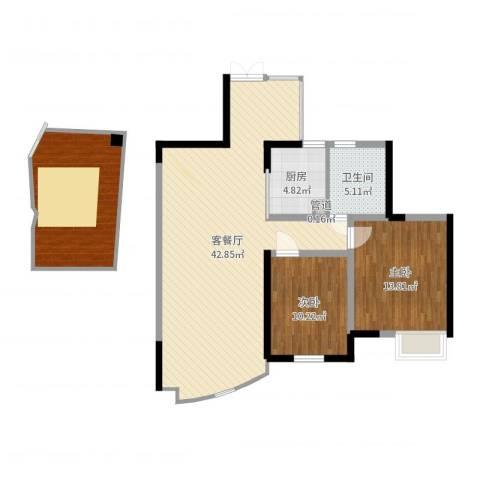 世纪城龙锦苑2室2厅1卫1厨115.00㎡户型图