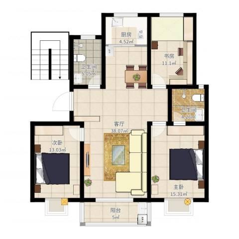 尚东城3室1厅2卫1厨120.00㎡户型图