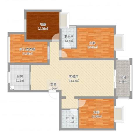 君临华庭3室2厅2卫1厨136.00㎡户型图